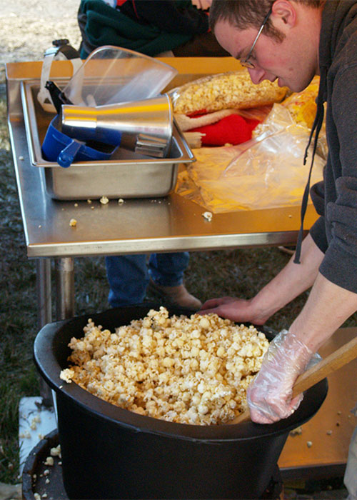 A day in the World's largest corn maze, pumpkin patch, zip line, orb ride, and so much more activity--it just has to include some delicious snacks such as kettle corn-part of a great day at Richardson Adventure Farm, Spring Grove, Illinois, NW of Chicago.
