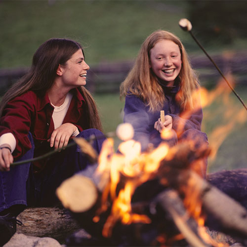 Cozy up to one of our many community campfire pits.