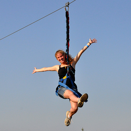 Soar down our 100 foot zipline from our 40 foot observation tower!